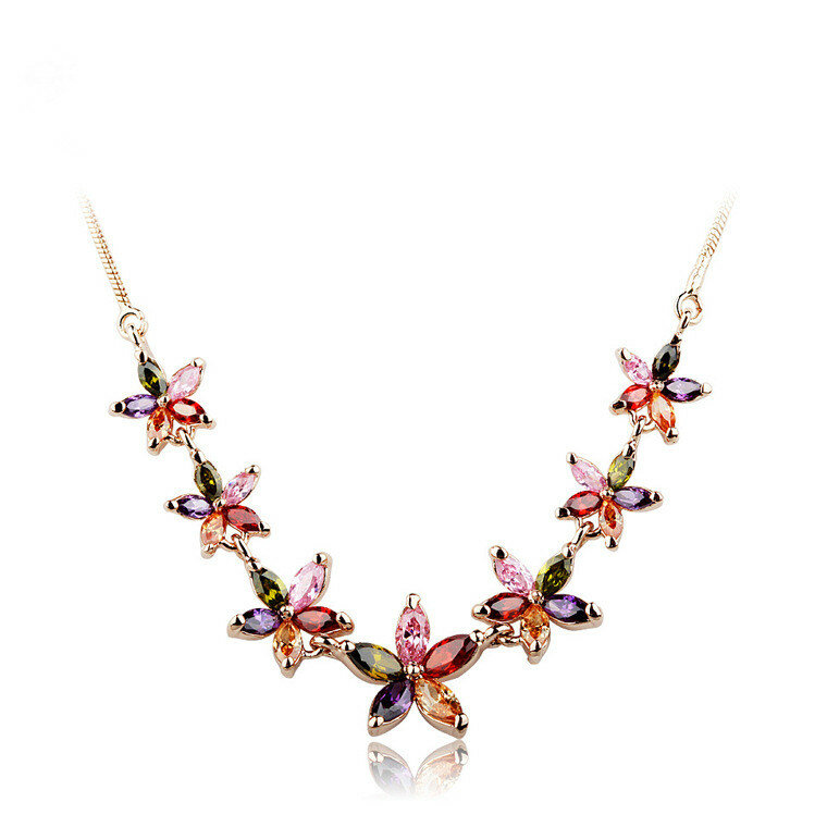 Luxury Rose Gold Necklaces Colorful Zircon Flower Delicate Necklace Fashion Jewelry for Women