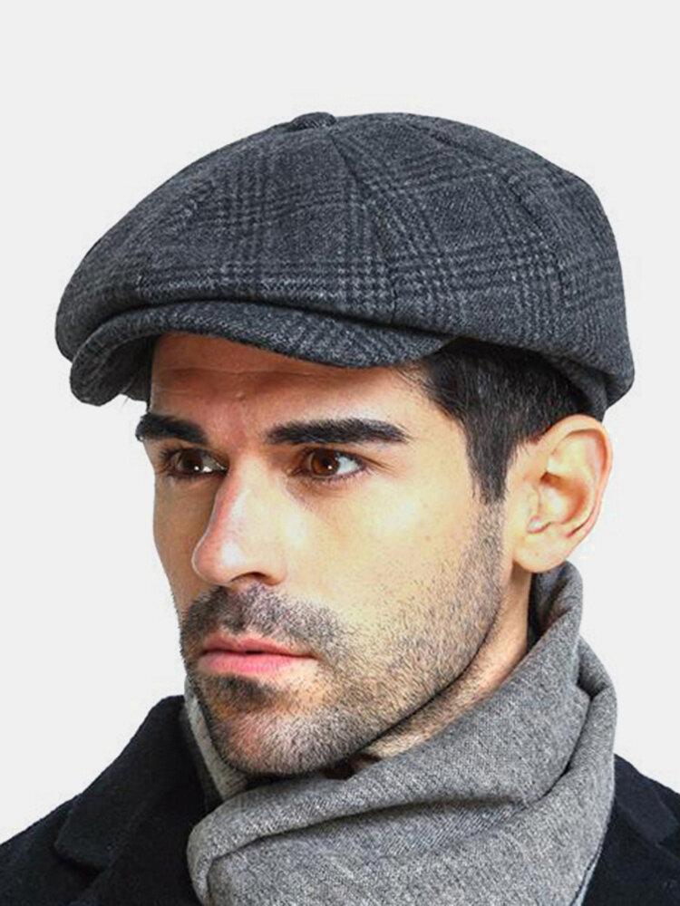 Vintage Men Wool Gird Beret Hat Octagonal Newsboy Cap Winter Casual Cabbie Cap Driving