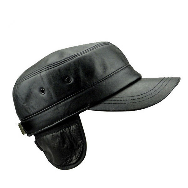 Men Women Black Genuine Sheepskin Military Cap Warm Ear Protaction Flat Top Hat