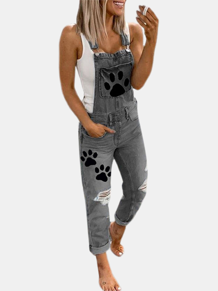 Paw Printed Straps Ripped Demin Jumpsuit For Women