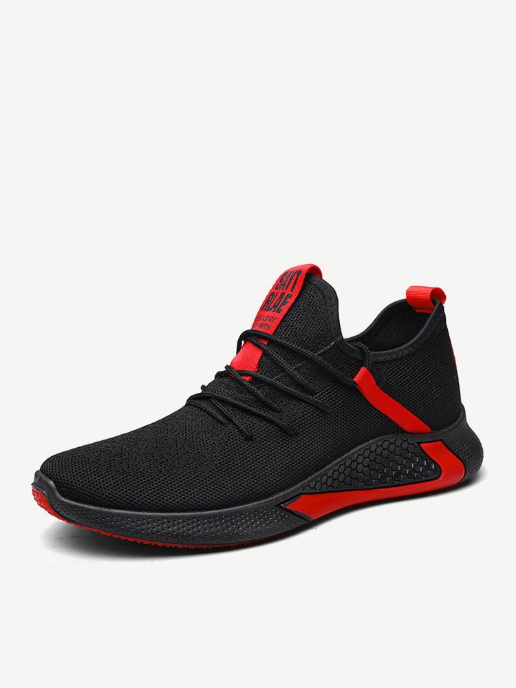 Men Knitted Fabric Breathable Outdoor Sport Running Sneakers