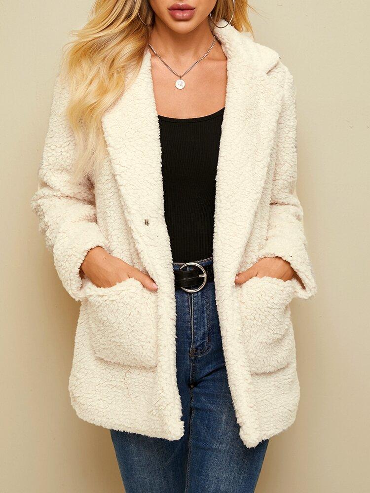 Women Solid Color Pocket Lapel Collar Plush Casual Coat