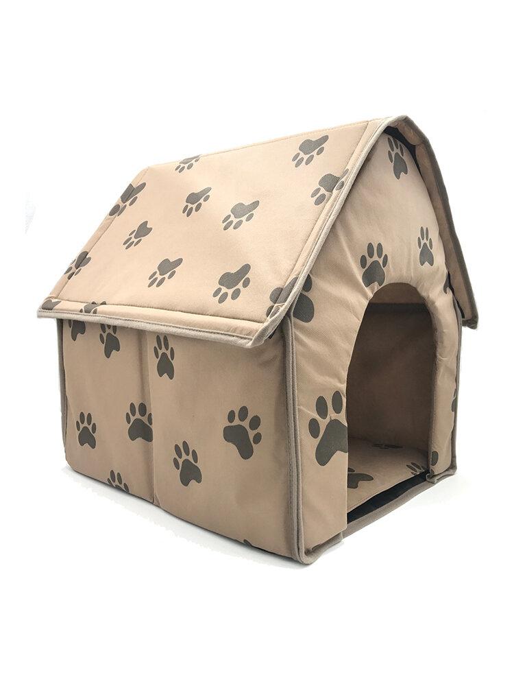 足パターン折り畳み式のファブリックペットの犬の洞窟の家アンチスクラッチ子犬箱