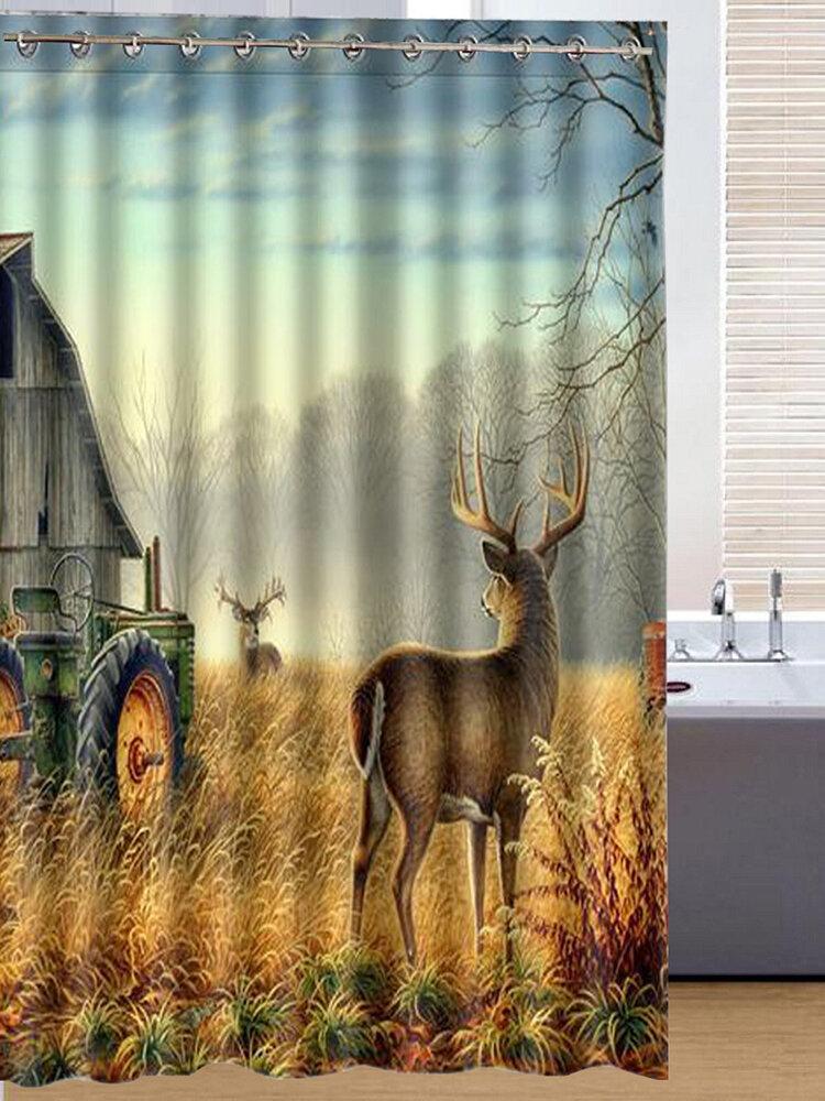 150X180cm Sika Deer Pringting Waterproof Bathroom Curtain Polyester Fabric Bath Curtain
