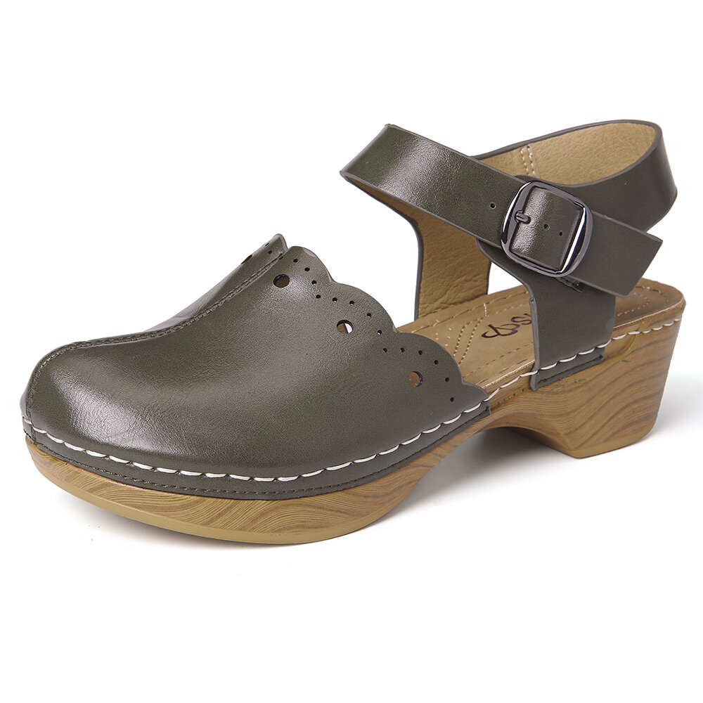 LOSTISY Closed Toe Solid Color Buckle Clogs Chunky Heel Slingback Casual Wedges