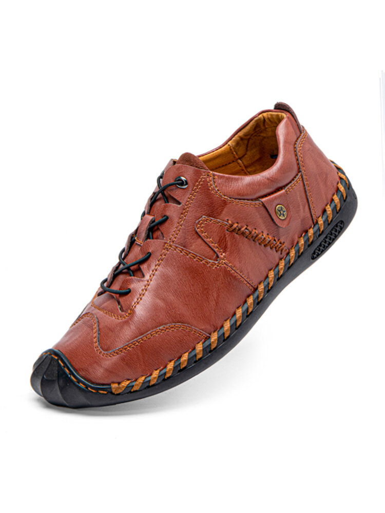 Men Hand Stitching Comfy Non Slip Wide Fit Elastic Lace-up Casual Shoes