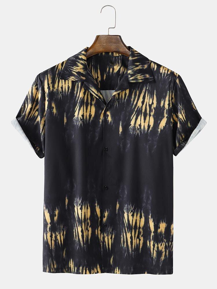 Mens Tie Dye Button Up Lapel Short Sleeve Street Shirt
