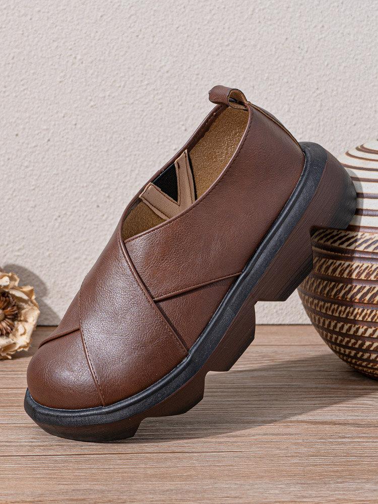 Женские повседневные ретро Soft удобные однотонные лоскутные туфли на платформе из свиной кожи