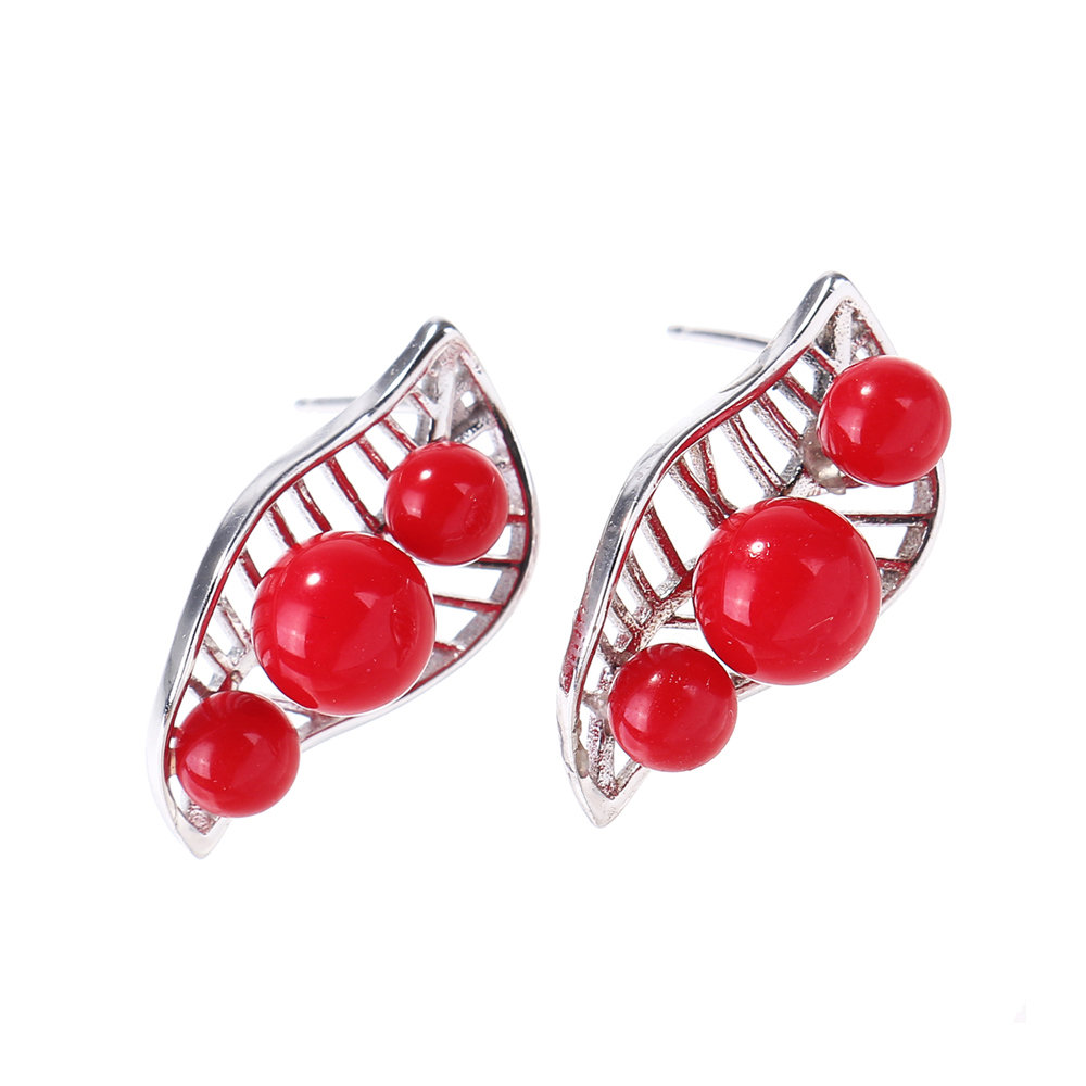Trendy 925 Sterling Silver Stud Earrings Leaf Fruit Pattern Red Agate Piercing Earrings for Women