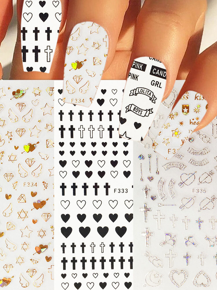 3D Heart Cross Crown Colorful DIY Nail Stickers