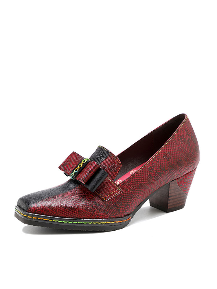 Socofy Retro Floral Print Elegant Bowknot Color Block Genuine Leather Square Toe Chunky Heel Pumps
