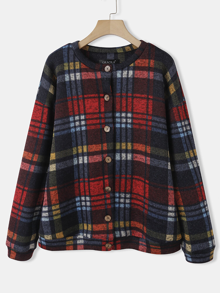 Color Plaid Print Long Sleeves O-neck Button Casual Coat For Women