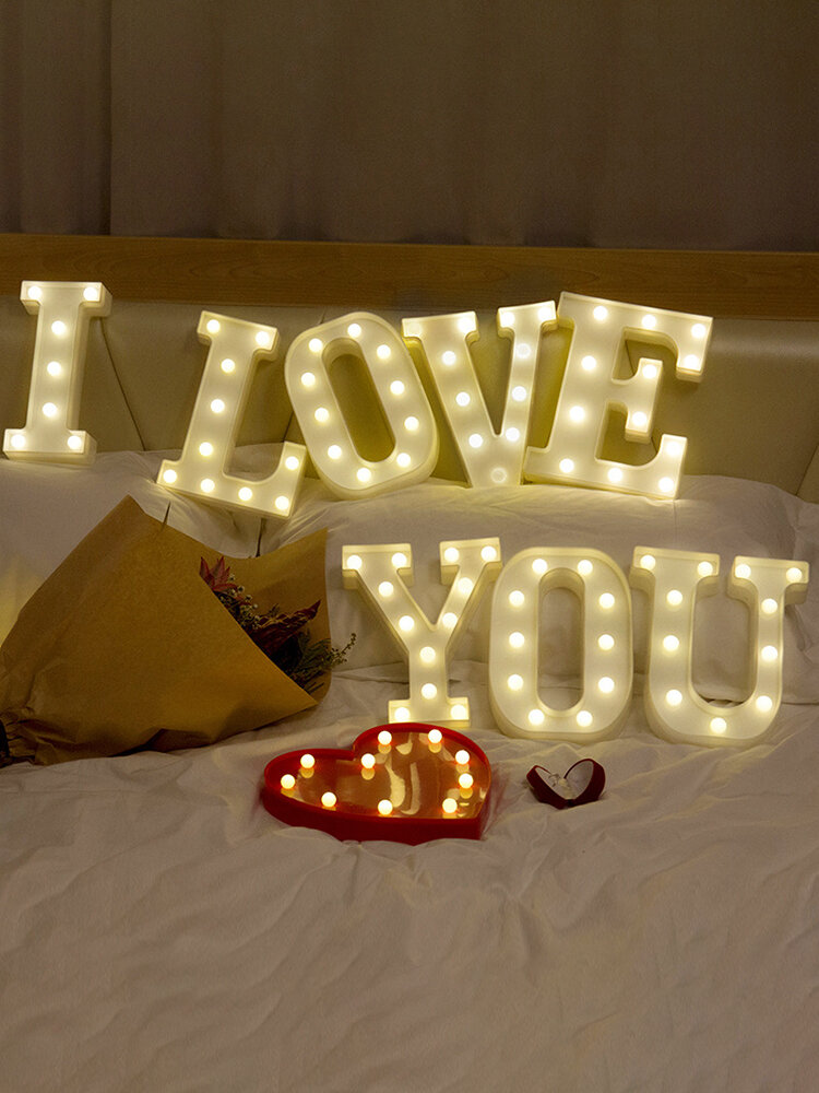 LED English Letter And Symbol Pattern Night Light Home Room Proposal Decor Creative Modeling Lights For Bedroom Birthday Party