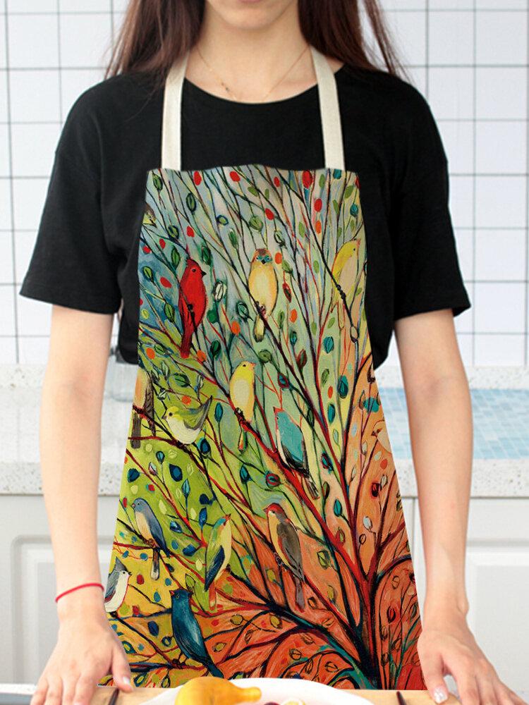 木と鳥の絵のパターンのクリーニングColorfulエプロン家庭料理キッチンエプロンクックウェアコットンリネン大人のよだれかけ
