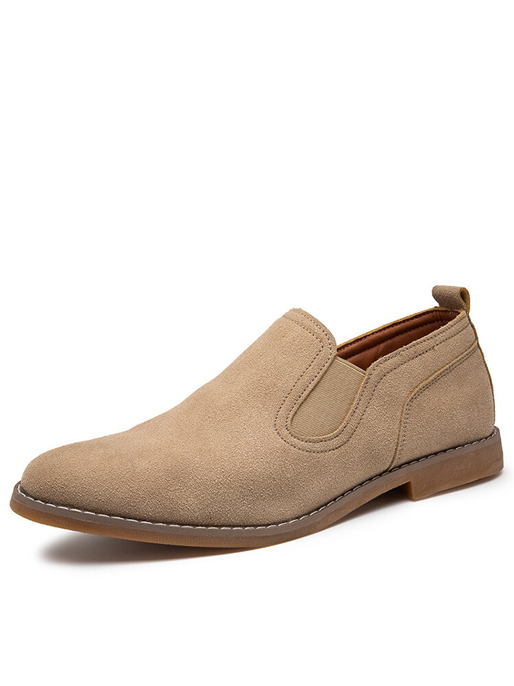 Men British Style Comfy Suede Elastic Slip-on Casual Shoes