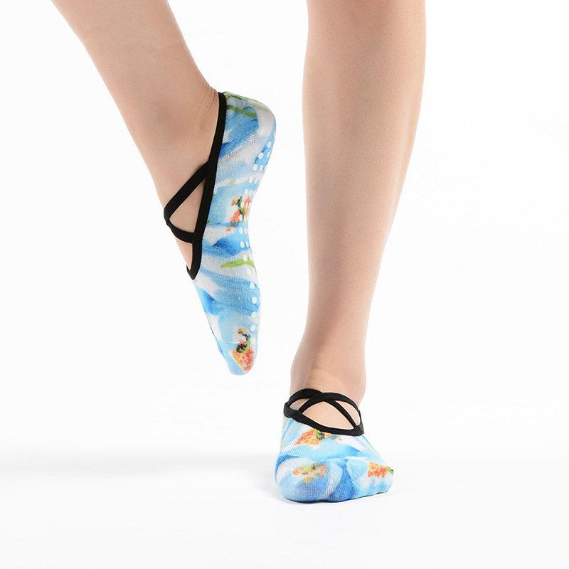 MEIKAN Low Rise Printed Halter Grip Non-Slip Profession Ballet Yoga Pilates Barre Socks