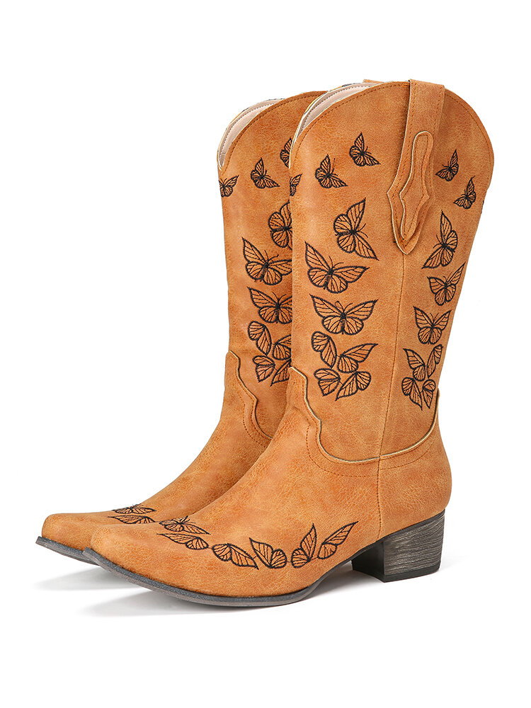 Large Size Women Butterfly Decor Pointed Toe Mid Calf Cowboy Boots