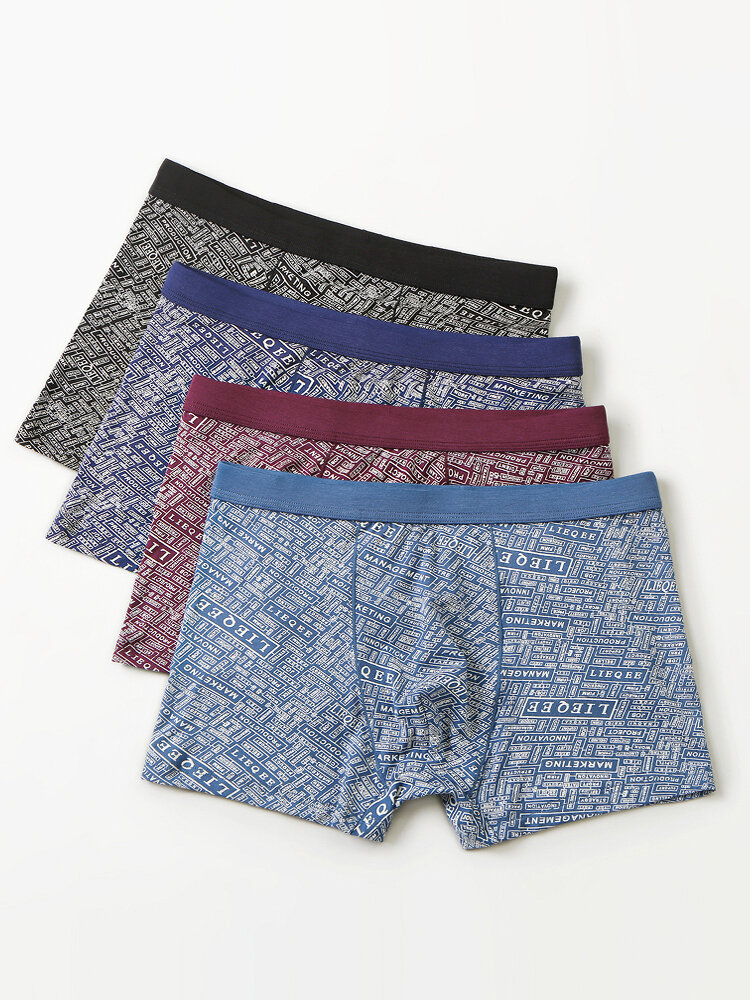 4PCS Mens Cotton Letter Printing Breathable Comfy Waistband Boxer Briefs With Pouch