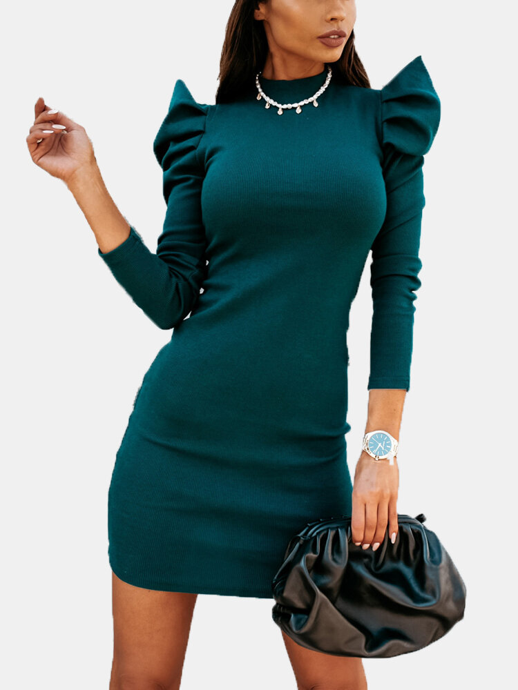 Casual Solid Color Puff Sleeve Plus Size Dress for Women