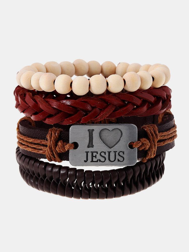 Religious I Love Jesus Bracelet Cowhide Multilayer Wristband White Wood Bead Bracelet for Men