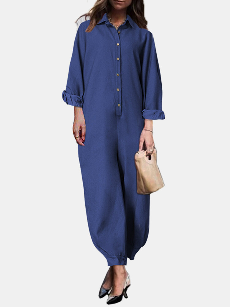 Solid Color Button Long Sleeve Casual Jumpsuit for Women