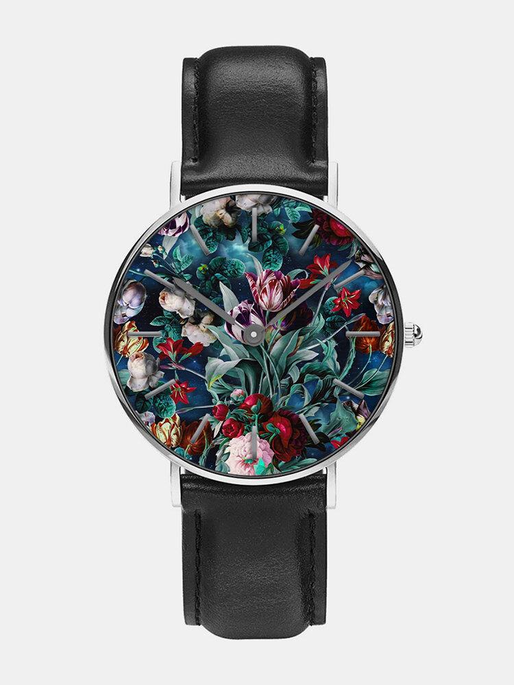 Casual Landscape Painting Men Wrist Watch Colored Flower Quartz Watch
