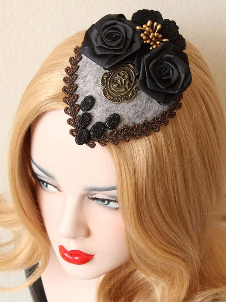 Punk Cosplay Hairwear Vinatge Black Rose Skull Small Hairpin Jewelry