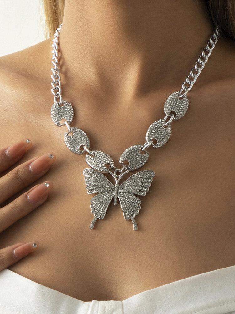 Trendy Full Rhinestone Butterfly-shape Pendant Pig Nose Buckle Rhinestone Alloy Necklace