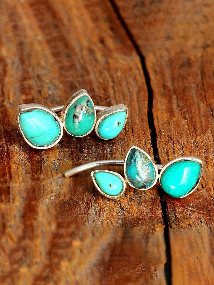 Vintage Turquoise Earrings Drop-Shaped Hippie Reptile Natural Stone Ear Stud, Silver