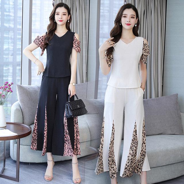 European Station New Leopard Stitching Wide-leg Pants Two-piece Slimming Shoulders Trendy Suit Women