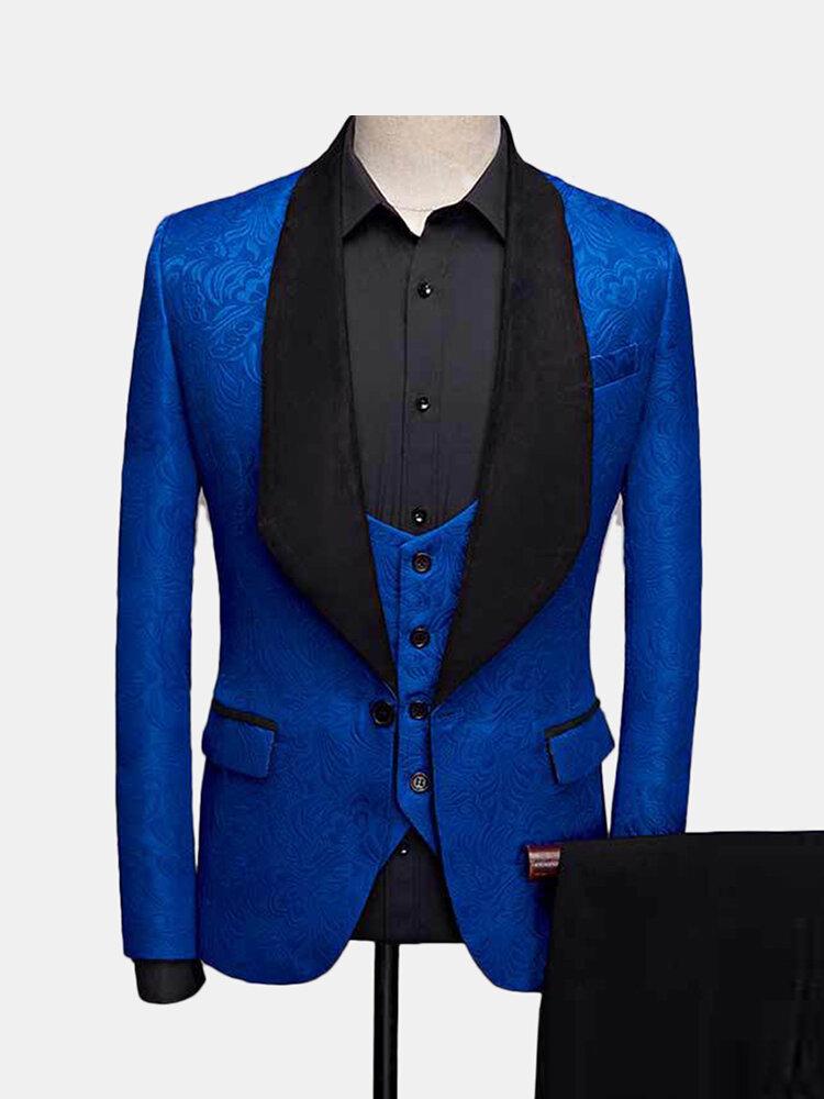 Mens trois pièces d'affaires impression de mariage Slim Fit soirée Dressing Dress Suit