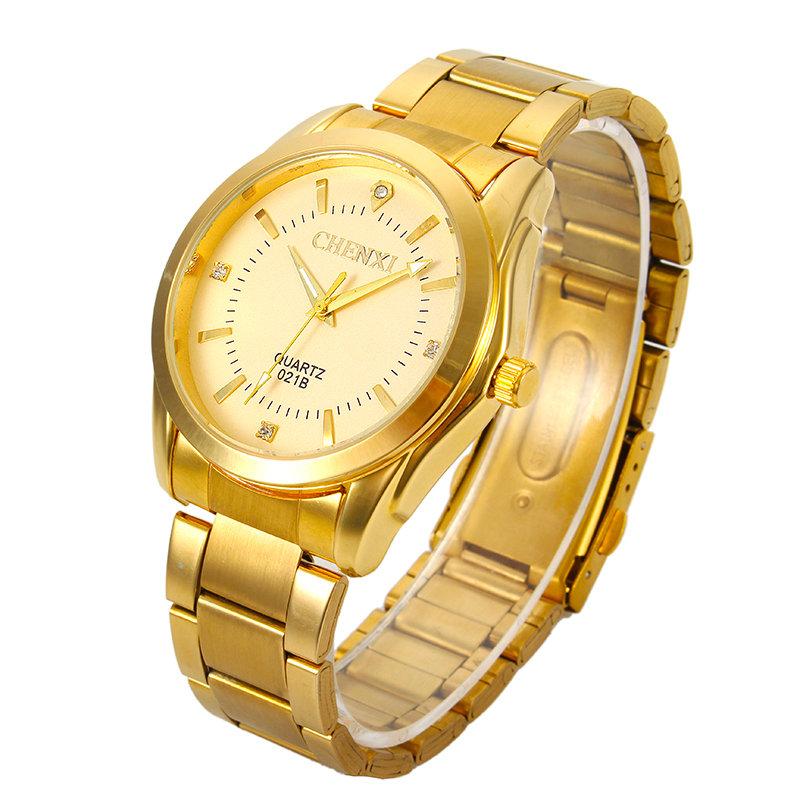 CHENXI Reloj de pulsera lujoso de moda de acero inoxidable en dorado Relojo estilo comercio de cuarzo para hombres