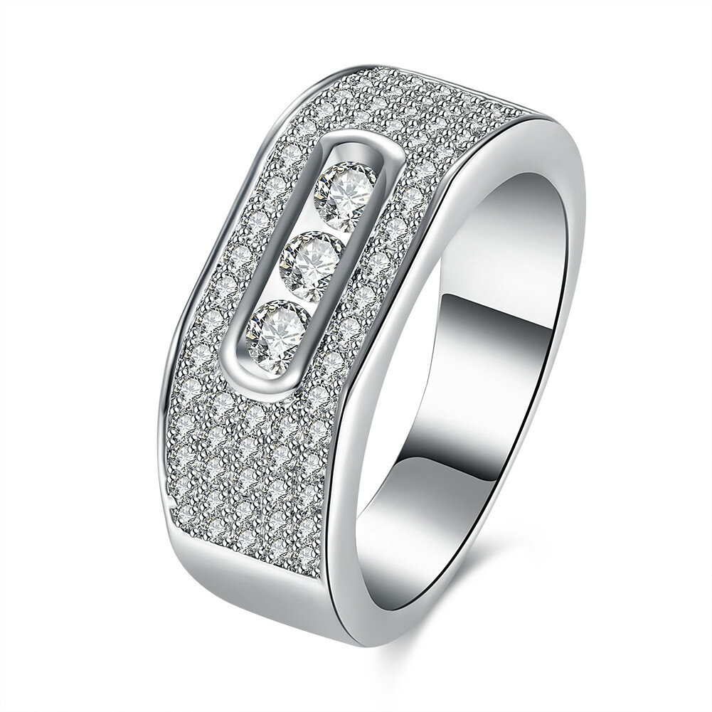 Luxury Wedding Ring Full Zircon Platinum Ring for Women Gift