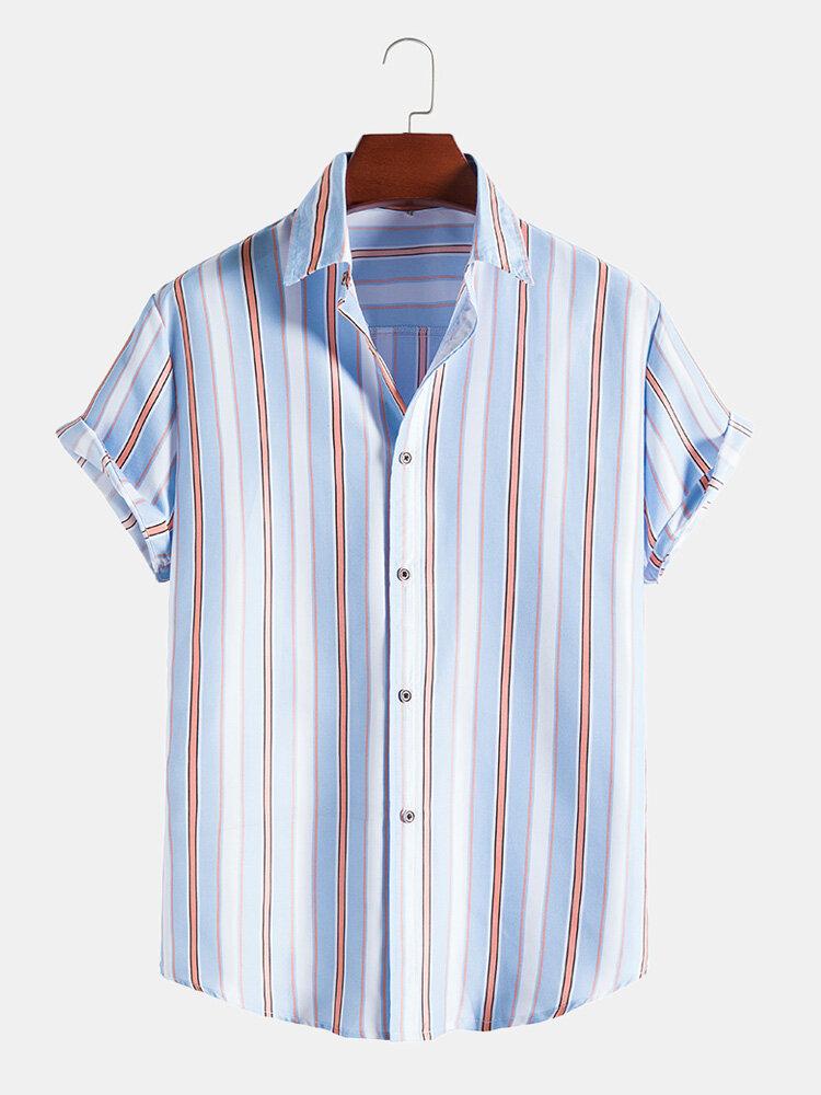 Mens Vertical Stripe Print Button Up Casual Short Sleeve Shirts