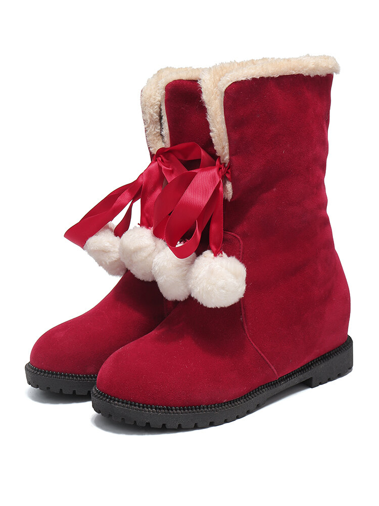Women Solid Color Casual Elegant Pompom Bowknot Warm Fluff Flanging Snow Boots