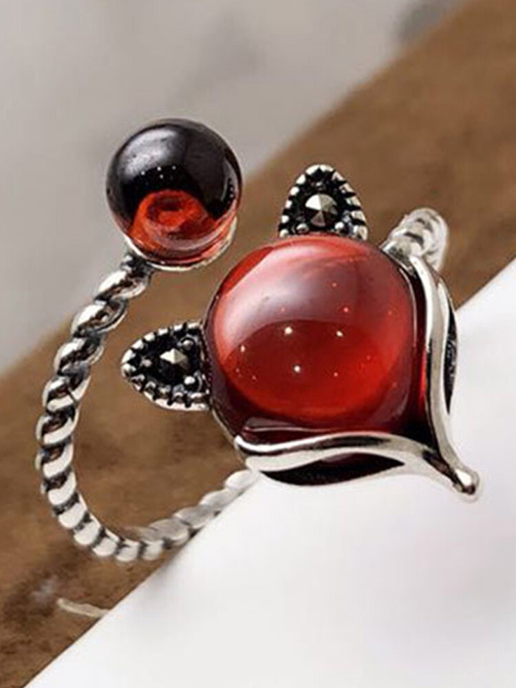 S925 Silver Vintage Pomegranate Red Fox Open Adjustable Rings