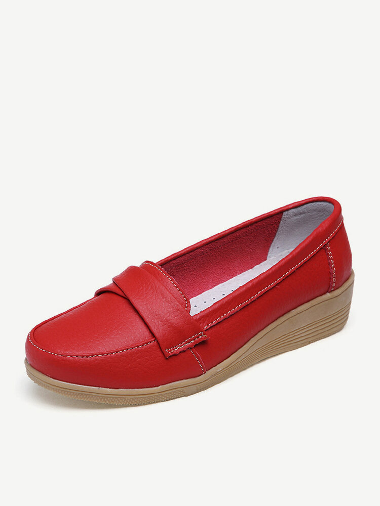 Women Casual Genuine Leather Solid Color Wedges Heel Loafers