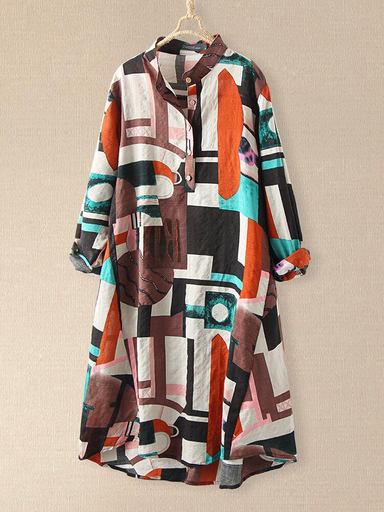 Plaid Loose Stand Collar Langarm Casual Print Kleid Für Damen