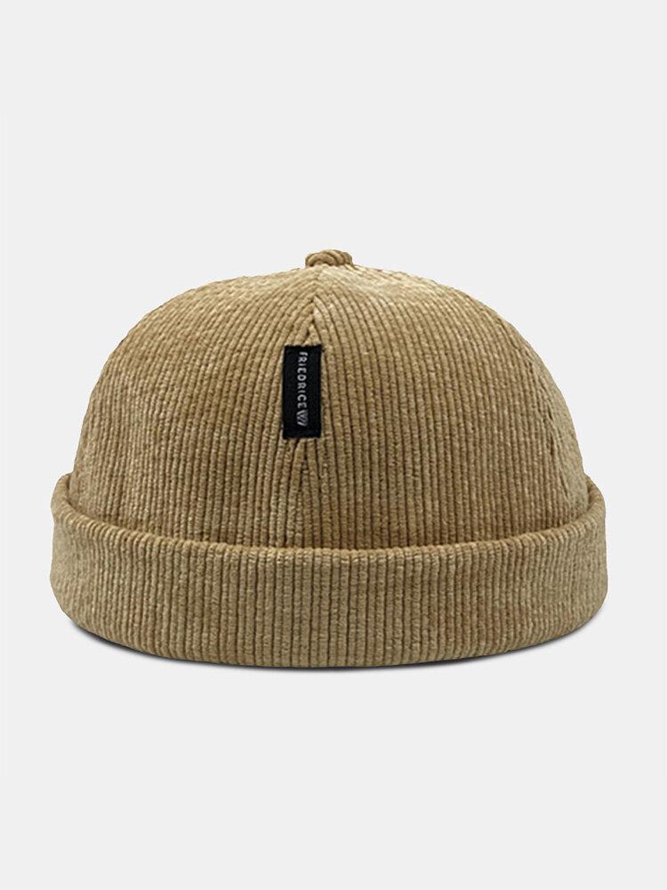 Unisex Corduroy Letter Pattern Label Fashion Warmth Brimless Beanie Landlord Cap Skull Cap