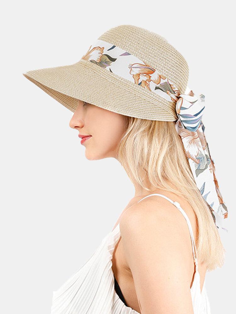Femmes paille solide calicot imprimé Streamer Bowknot décor respirant parasol chapeau de paille pliable