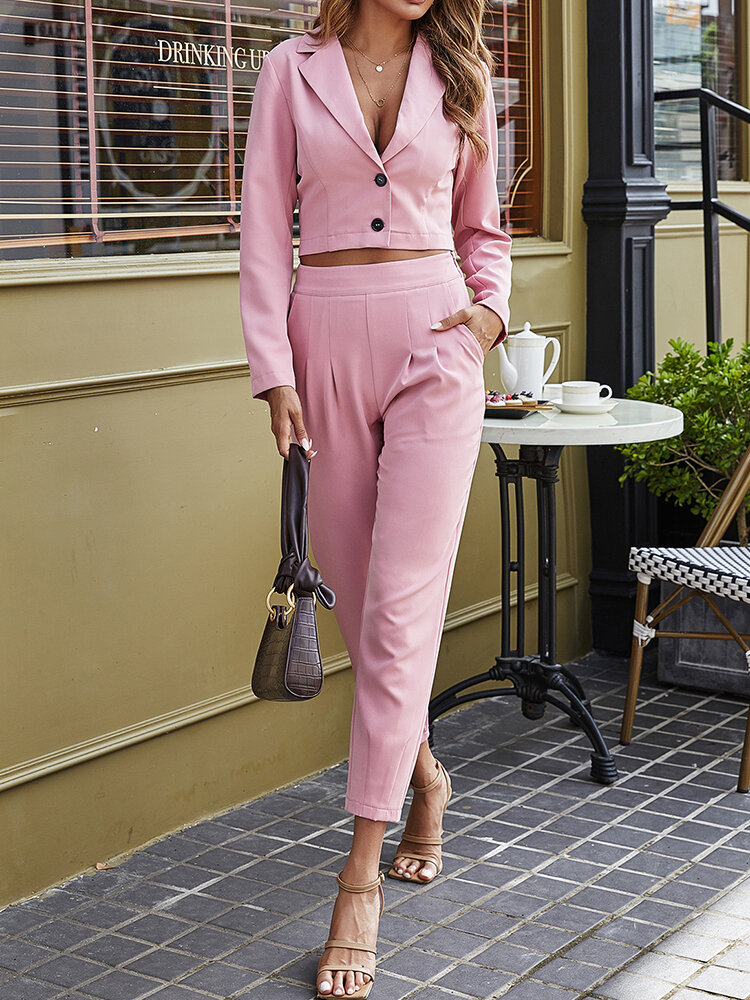 Solid Color Button Pocket Patchwork Long Sleeve Casual Suit for Women