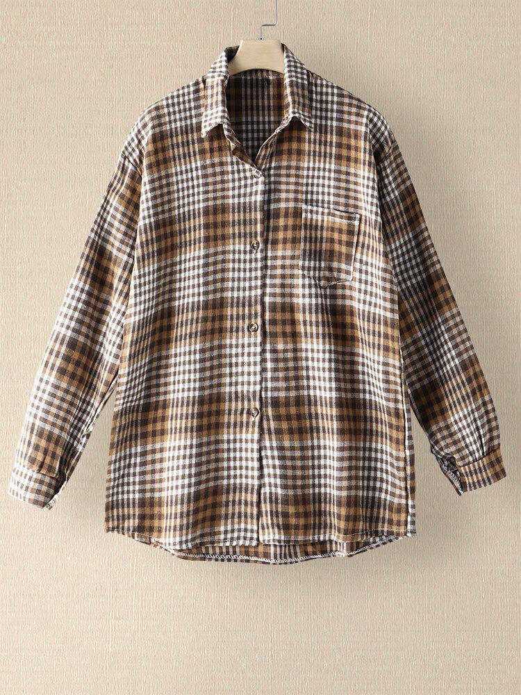 Blusa suelta con solapa y botones de manga larga con bolsillo a cuadros