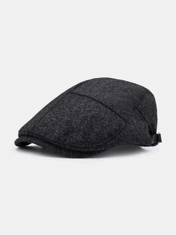 Mens Winter Thicken Warm Cotton Beret Cap Adjustable Vogue Casual Solid Forward Hat