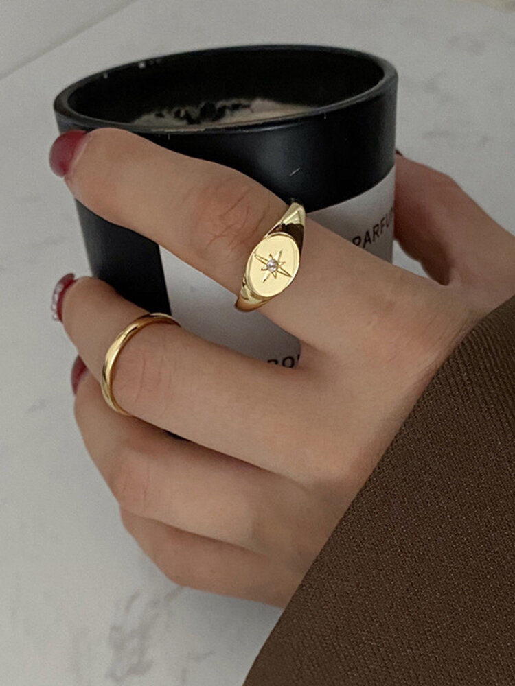 Trendy Metal Six-pointed Star Joint Rings