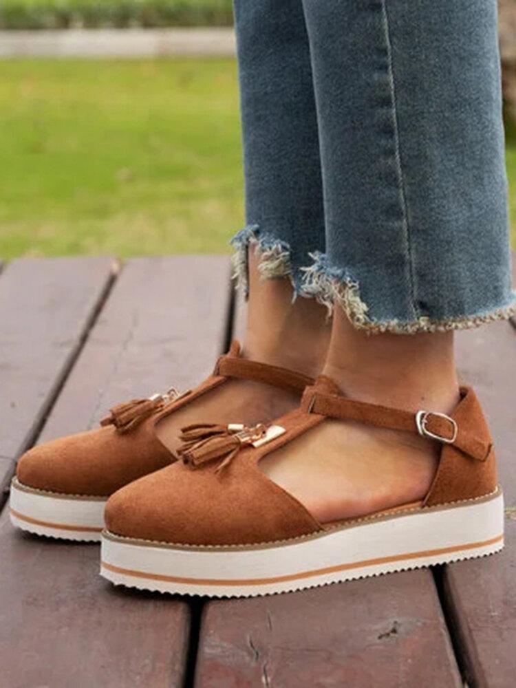 Women Tassel Decor Comfy Breathable Casual Closed Toe Platform Sandals