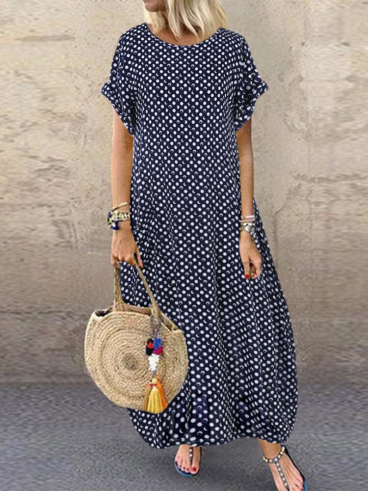 Summer Polka Dot Print Short Sleeve Plus Size Dress