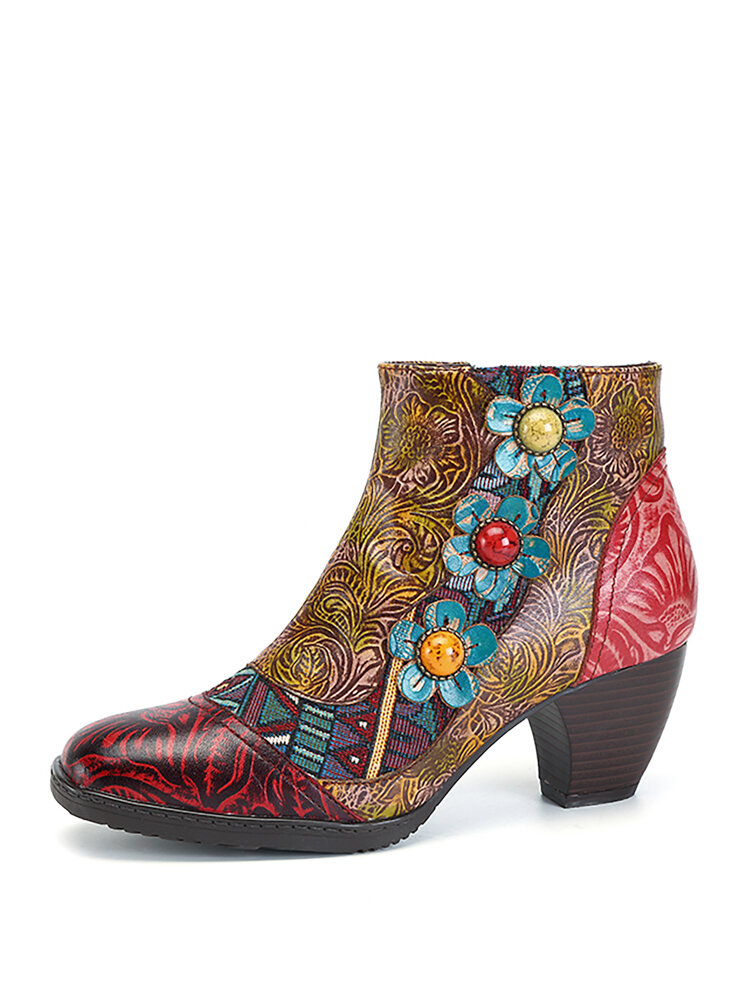 SOCOFY Bohemian Splicing Plant Pattern Zipper Ankle Leather Boots