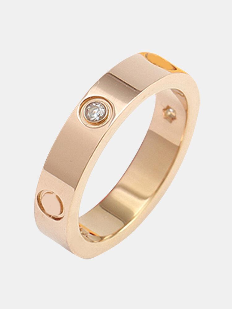 Simple Titanium Steel Couple Rings Wild Inlaid Diamond Ring Valentine's Day Gift