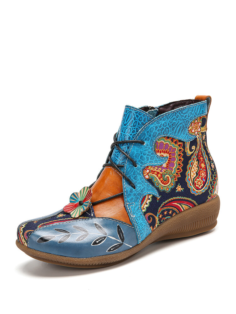 SOCOFY Folkways Floral Cloth Paisley Splicing Flower Decor Leather Comfy Wearable Flat Ankle Boots Fatbaby Boots