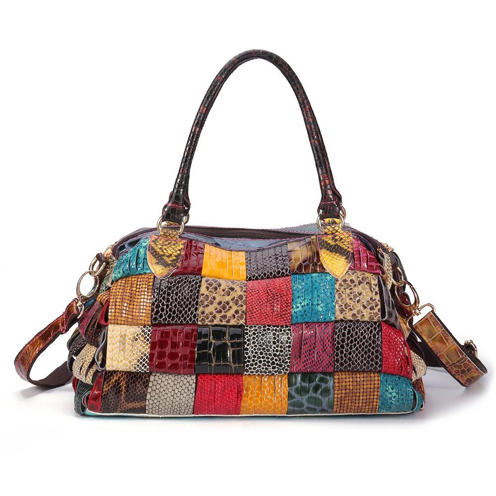 Damen Bohemian Large Capacity Echtlederhandtaschen Patchwork Handmade Crossbody Taschen